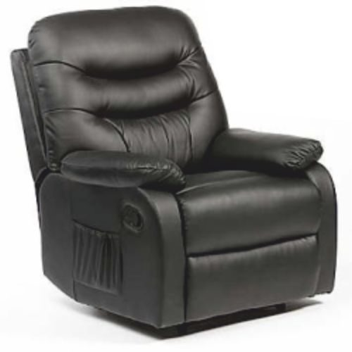 Hebden Manual Leather Recliner Chair Black