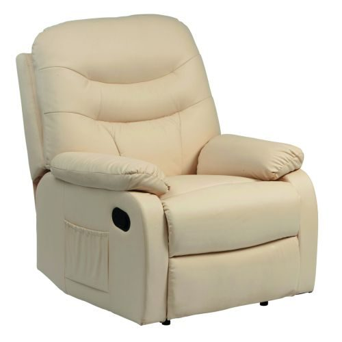 Hebden Manual Leather Recliner Chair Cream