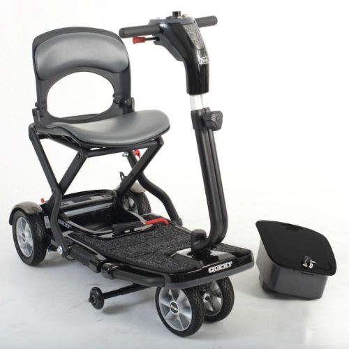 Affordable, Pride Mobility, Quest, Folding Suitcase Mobility Scooter, Portable, 4 Mph, Lightweight, Air Safe, Lithium Battery, Red, Black