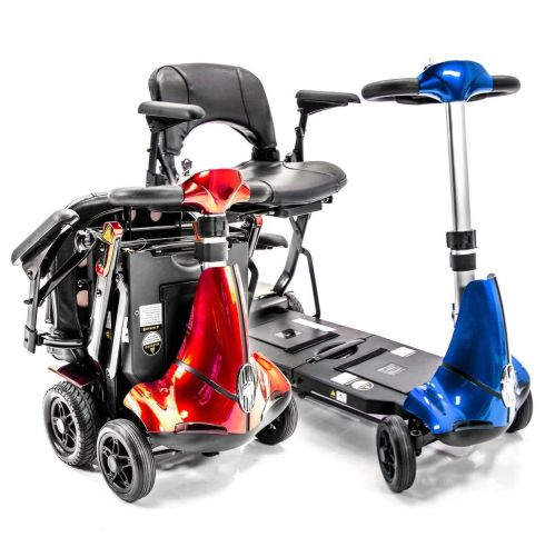 Mobie Plus Folding Electric Mobility Scooter, Air Travel Safe, 4MPH, 10 Mile Range, Automatic Folding, Red, Blue