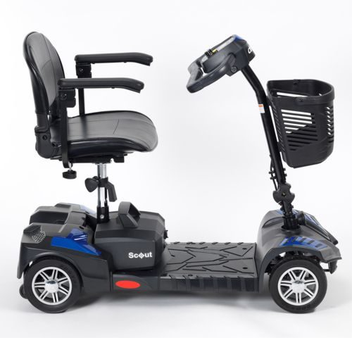 Side View of Drive Scout Electric Mobility Scooter, Electric Blue