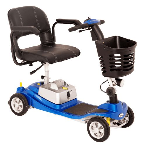 the illusion mobility boot scooter made by one rehab in the colour blue