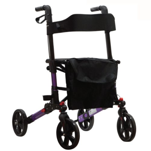 Triple Folding Rollator, Walker, Folds flat, Aluminium, Affordable walking frame with wheels, includes seat and bag