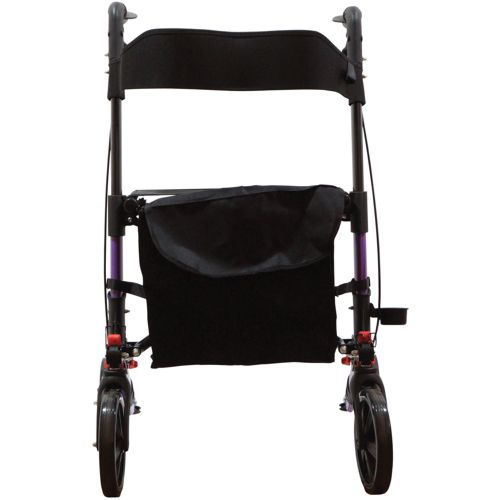 Purple 4 Wheel Walker, Rollator, Light, adjustable height with brakes, Folds 3 times, Portable