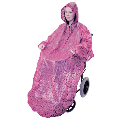 Aidapt, Pink Wheelchair Mac with sleeves, 100% Waterproof, Universal size.