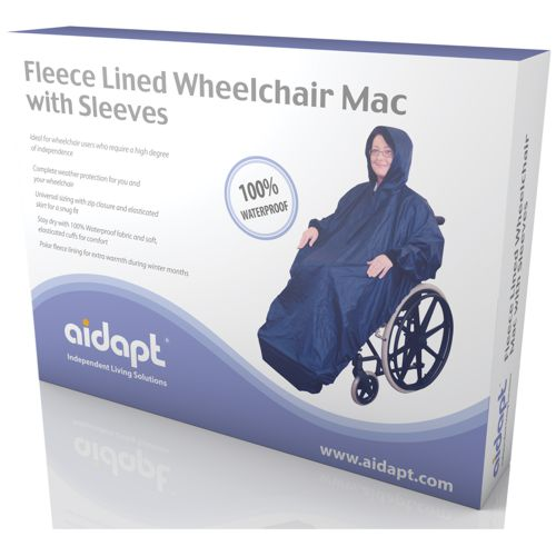 Fleece Lined, Waterproof Wheelchair Mac with sleeves, Full Rain Cover