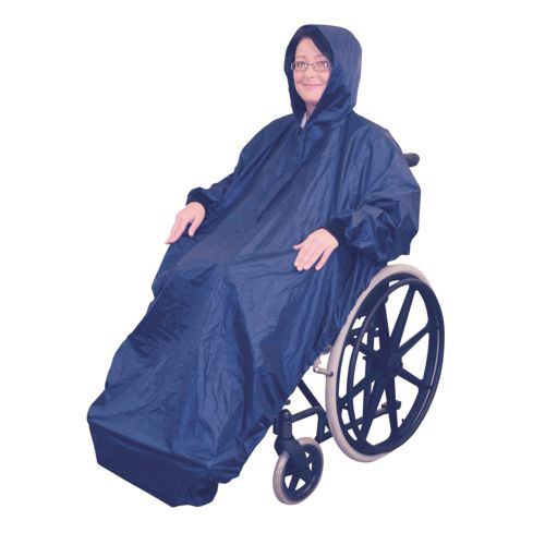 Aidapt, Navy Wheelchair Mac with sleeves, Waterproof, Weatherproof, Universal Sizing, Wheelchair Rain Cover