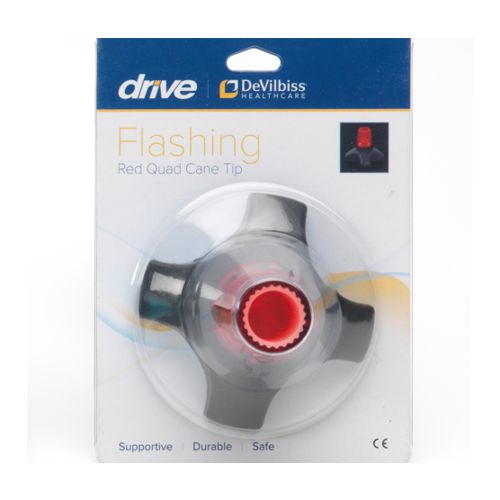 Drive Devilbiss, Red Flashing Quad Cane Tip, Rubber Ferrule, Red