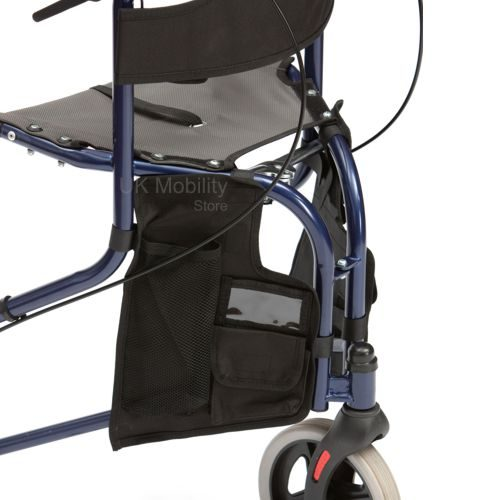 Front of the a blue tri walker with seat