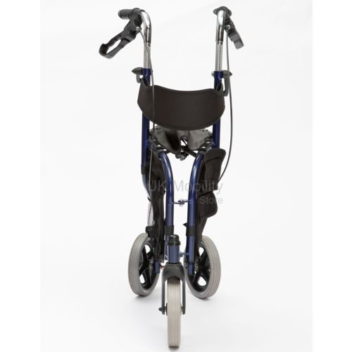 Blue tri walker with seat folded in half