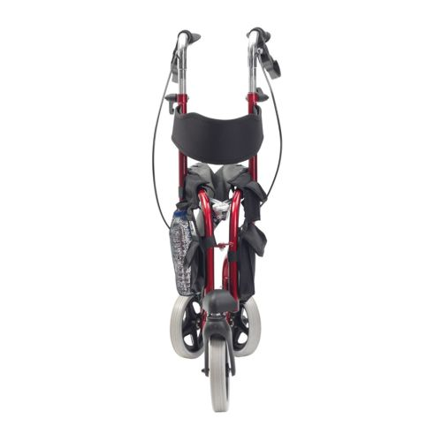 Red Tri Walker with a seat, 3 Wheels, Folded in half
