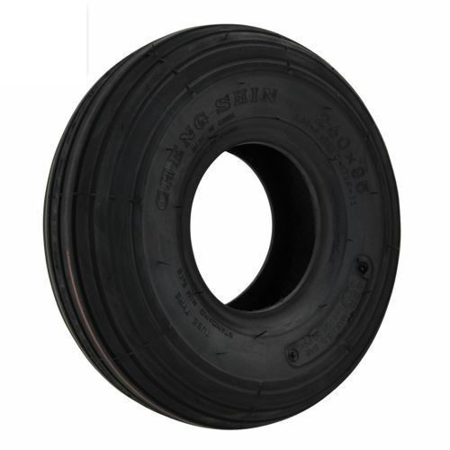 A black pneumatic tyre with rib tread of a size of 300x4