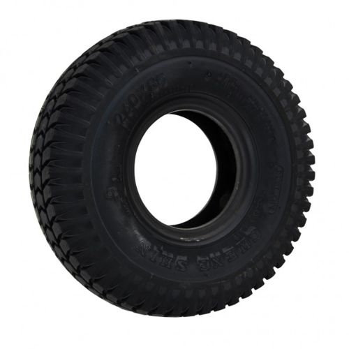 A black pneumatic tyre with block tread of a size of 300x4
