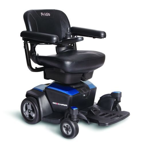 The pride Go-Chair Powerchair with blue panels