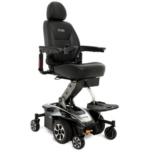 the jazzy air 2 powerchair at a fully elevated position